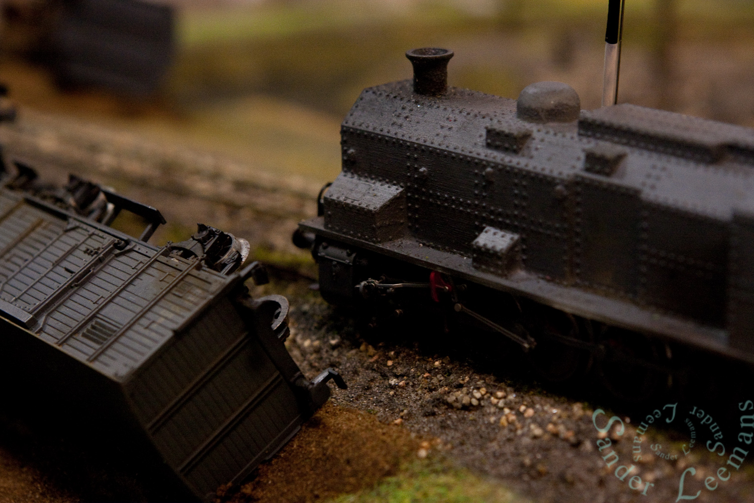 Pantserlocomotief in model